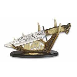 Medžioklinis dekoratyvinis peilis su stovu
